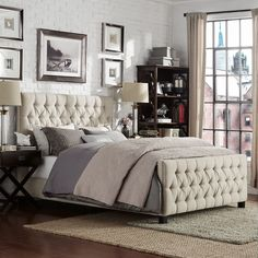 Knightsbridge Tufted Nailhead Chesterfield Queen Bed with Footboard by Signal Hills (Regular Bed- Beige Linen)