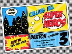 Super hero birthday invite printable from etsy shop