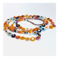 Collier * fleurs multico chaud * prune, rouge, oranges, rose, ciel, blancet noir en perles rocailles