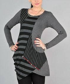 Loving this Gray Abstract Stripe Sidetail Tunic on #zulily! #zulilyfinds
