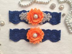wedding garter set navy blue/orange bridal garter set by venusshop, $24.90