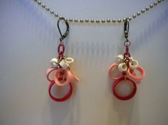 Quilled Paper Earrings Pink Jumble by SingOn on Etsy, $12.00