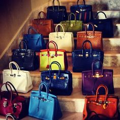 A staircase of Hermes Birkin Bags..... this MUST be HEAVEN !!!!!!!