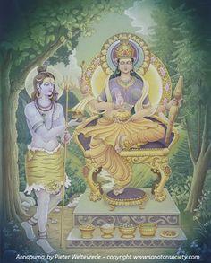 Annapurna, the Hindu goddess of food and cooking with Lord Shiva Indian Gods, Indian Art, Shiva Shakti, Durga Kali, Lord Shiva Family, Lord Murugan, Sacred Feminine, Durga Goddess, Hindu Deities