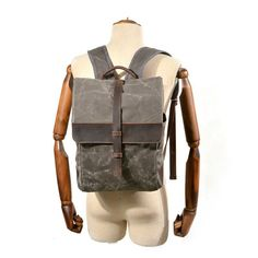 Handmade Canvas Leather Backpack Men Travel Bag Backpacks Computer Backpack, Men's Backpack, Waxed Canvas, Canvas Leather, Cowhide Leather, Leather Men, Leather Backpack For Men, Everyday Bag, Canvas Material