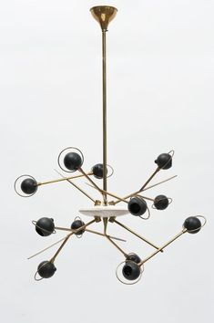 Oscar Torlasco Attributed; Brass and Enameled Metal Ceiling Light, c1960.