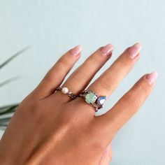 Crystal and Pearl Stacking Rings Swarovski & Stainless Steel