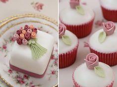 Spring Wedding Ideas - rose bouquet mini cakes