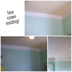 how to diy faux crown molding with thin molding and paint #diy #tutorial #paint #crownmolding