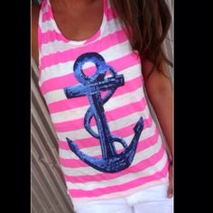 """SALE⚓️ Stripe Anchor Tank Top -BLUE REG 25$- NOW 18$. NEW WITH TAGS. Pink And White stripe tank top with Royal blue sequins Anchor on the front. MEASUREMENTS: BUST-34.6""""  WAIST-33.8""""  LENGTH 24.2"""". TAG SAYS LARGE WILL FIT A SIZE 10. Bauloke Tops Tank Tops"""