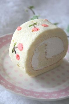 Cute cherry roll cake