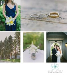 Lake Tahoe Wedding, Merrily Wed Lake Tahoe Weddings, Lakefront Tahoe Estate, Yellow, Navy White Wedding, Navy Bridesmaid Dress, Yellow and White Bouquet, White Florals