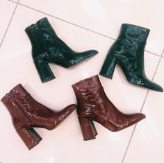 Step out in this season's must-have ankle boots. Made from patent leather, they come with a shine finish and flared heel for a glamorous edge. #Topshop