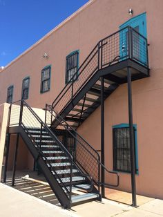 Commercial Steel Stair System With Bent Plate Treads And