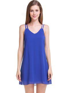 Vestido gasa suelto correa de espagueti-azul 7.95