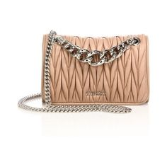22d124eec67 Miu Miu Club Matelassé Leather Chain Shoulder Bag (€1.395) ❤ liked on  Polyvore