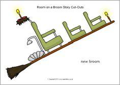 Room on the Broom Story Cut-Outs Halloween Theme Preschool, Fall Preschool, Easy Halloween Crafts, Halloween Themes, Halloween Activities, Cutting Activities, Book Activities, Preschool Activities, Gruffalo Activities