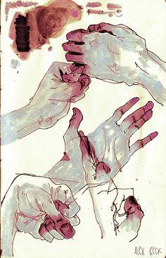 red-lipstick: Alex Beck - Hands, 2013 Drawings