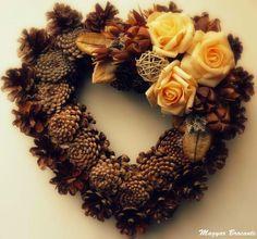 Magyar Brocante: Emlékezünk... Pine Cones, Pumpkin Spice, Diy And Crafts, Hearts, Wreaths, Fall, Color, Letter Designs, Xmas