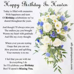 In Loving Memory Cards - Happy Birthday In Heaven