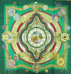 HERMES  Je compte les Heures  Silk scarf - I do like this design, green or blue?