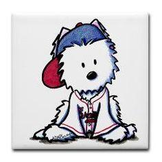 Braves Fan Westie Tile Coaster
