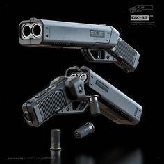 'Punisher' - The double-barreled shotgun-pistol - Sci Fi Weapons, Weapon Concept Art, Fantasy Weapons, Weapons Guns, Guns And Ammo, Survival Weapons, Rifles, Future Weapons, Custom Guns