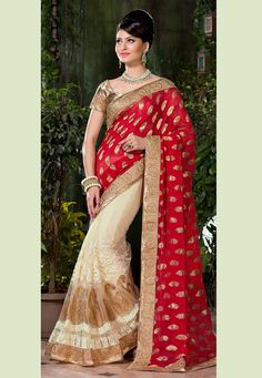 #Red and #Cream Faux Georgette Jacquard and #NetSaree with Blouse