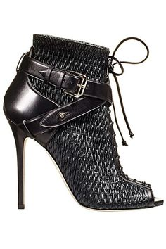 Brian Atwood ~ Leather Weave Booties w/ Ankle Strap, Black