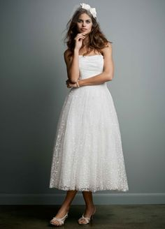 $250. Embroidered Tea Length Gown with Ruched Waist WG3606