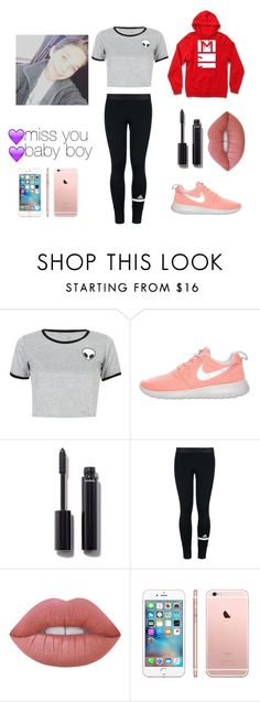 """Jazzy's ootd"" by emmagrayy ❤ liked on Polyvore featuring WithChic, NIKE, Chanel, adidas and Lime Crime"