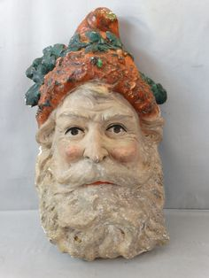 Antique SANTA CLAUS HEAD Plater Bust WALL PLAQUE Chalkware CHRISTMAS DECORATION