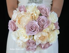 Vintage Wedding Flower Bouquet with antique lavender roses and ivory peonies and roses