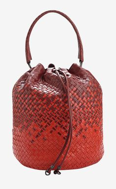 Bottega Veneta Red And Burgundy Handbag - love the patterning Fashion Handbags, Purses And Handbags, Fashion Bags, Leather Handbags, Leather Bags, Red Leather, Womens Fashion, Leather Accessories, Handbag Accessories