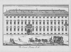 """Palazzo Poldi Pezzoli, via Manzoni, Milano. Marc'Antonio Dal Re, """"Vedute di Milano"""", incisione 76 (ca. 1745)."""