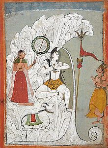 Shiva bearing the descent of the Ganges River as Parvati and Bhagiratha and the bull Nandi look, folio from a Hindi manuscript by the saint Narayan, circa 1740