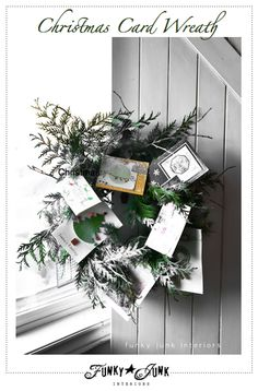12 Days of Christmas series Day 1: Make a Christmas card wreath with an old piece of garland. via Funky Junk Interiors