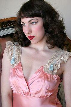 On DollhouseBettie.com: 40s Vintage Under Pretties Coral Satin Nightgown