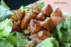 Deliciours...: Salade de poulet caramélisé Chicken Wings, Pork, Meat, Ethnic Recipes, Strawberry Soup, Salads, Cooking Food, Food, Fingers