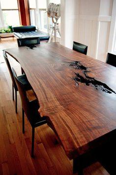 Dining Room Table Sets Modern Live Edge Claro Walnut Slab Dining - Home Interior Design Ideas Live Edge Furniture, Rustic Furniture, Furniture Design, Furniture Ideas, Table Furniture, Natural Wood Furniture, Furniture Makers, Wood Slab Table, Wood Tables