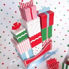 12 Mini Gift Boxes with Sleigh Printable Paper by FantasticToys, $4.00