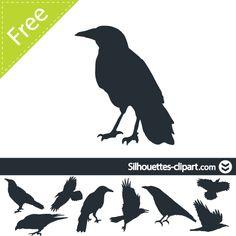 vector ravens silhouettes Halloween Raven, Halloween Artwork, Halloween Signs, Crow Silhouette, Silhouette Images, Fox Tattoo, Crow Tattoos, Bird Template, Halloween Templates