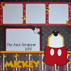 The Avid Scrapper: {I♥Mickey Disney Scrapbook Pages}