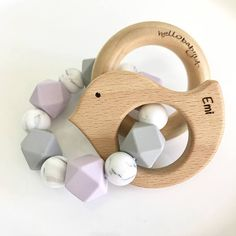 Personalized ENGRAVED & CUSTOMIZED Silicone Teether with