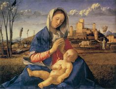 BELLINI, Giovanni  Madonna of the Meadow (Madonna del Prato)  1505  Oil on canvas, transferred from wood, 67 x 86 cm  National Gallery, London