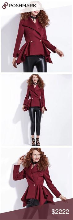 ‼️COMING SOON Burgundy Asymmetrical Peplum Jacket ‼️PLEASE LIKE THIS LISTING TO BE NOTIFIED OF ARRIVAL‼️ Jackets & Coats