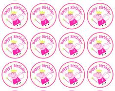 Peppa Pig Cupcake Toppers Peppa Pig Favor Tags by PartyOnInvites 3rd Birthday Parties, 2nd Birthday, Peppa Pig Birthday Decorations, Cumple Peppa Pig, Pig Cupcakes, Happy Birthday Signs, Pig Party, Partys, Cupcake Toppers