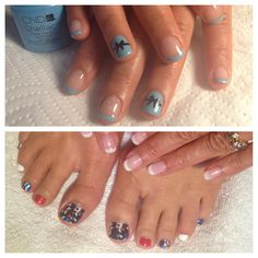 CND Azure wish .. With bows ❤ ...4th July minx with shellac toes :)