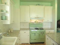 My love for jadite… |Gorgeous Mint kitchen. Beautiful Vintage inspired kitchen.