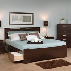 Prepac Coal Harbor Full Platform Storage Bed with Headboard in Espresso >>> Check out the image by visiting the link. (This is an affiliate link) Queen Bedroom, Bedroom Sets, Bedrooms, Bedroom Furniture, Furniture Design, Bedroom Decor, Floating Headboard, Murphy Bed Ikea, Queen Platform Bed